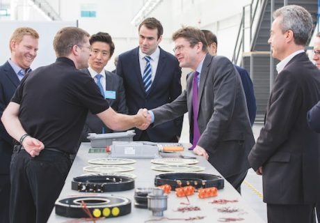 YASA Motors. Greg Clark meets staff at the new YASA factory Oxford