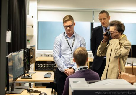 Her Royal Highness the Princess Royal visiting Collins Aerospace in Malvern, Worcestershire