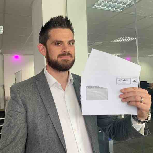 Pushing the envelope – Adare SEC's Tom Prestwich (pictured) holds the company's new 100% recyclable and biodegradable Pocheco envelopes