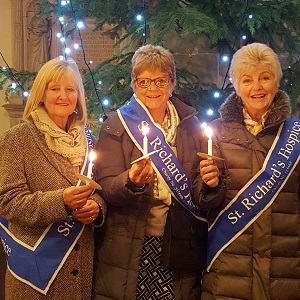 Hospice volunteers at the Lights of Love service, Great Malvern Priory
