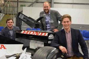Prodrive challenge Dr Tom Llewellyn-Jones, Dr Michael Dicker and Dr Simon Bates of Actuation Lab