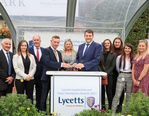 Lycetts Eve Johnson Houghton team receiving their Farm & Stable Award for Innovation and Wellbeing 2021. Credit cranhamphoto.com