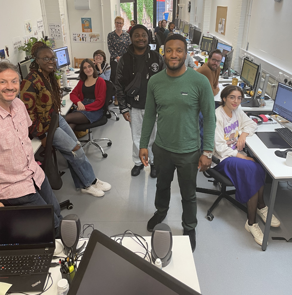 Ashley Joseph, who plays Jared in JoJo & Gran Gran, centre, and artist Djofray Makumbu, left, pay a visit to A Productions' existing studio at 52 Old Market Street